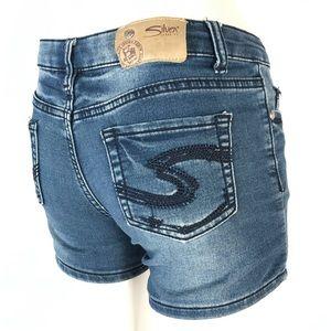 Silver lacy denim shorts